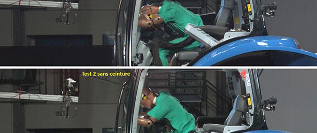 Crash-test de tracteur : focus sur le rôle de ceinture de sécurité