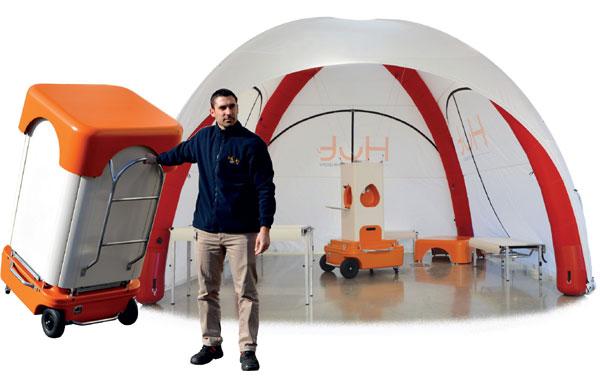Abri mobile de secours à tente gonflable
