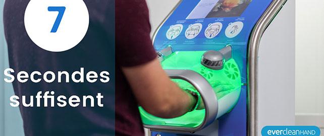 Une borne sans contact pour la désinfection des mains